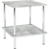 Product photograph showing Creek Square Wooden Side Table In Concrete Effect
