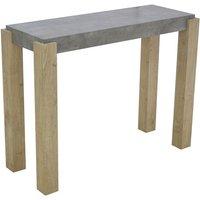 Product photograph showing Crete Light Concrete Top Console Table With Sonoma Oak Legs