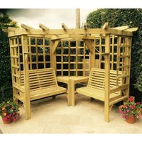Product photograph showing Cretone Corner Wooden 4 Seater Arbour