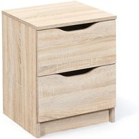 Crick Wooden Bedside Cabinet In Sonoma Oak With 2 Drawers