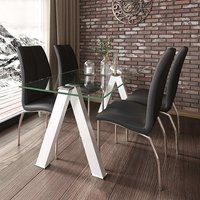 Product photograph showing Criss Cross Glass Dining Set With 4 Boston Black Leather Chairs
