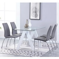 Product photograph showing Criss Cross Glass Dining Set With 4 Boston Grey Leather Chairs