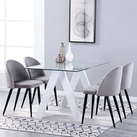 Criss Cross Glass Dining Set With 4 Candy Grey Velvet Chairs