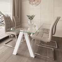 Product photograph showing Criss Cross Glass Dining Set With 4 New York Mink Chairs