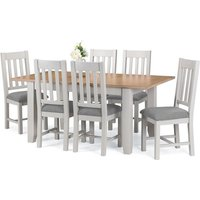 Christie Oak Top Extendable Dining Table In Grey With 4