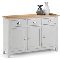 Christie Wooden Sideboard In Oak Top And Grey With 3 Doors