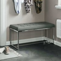 Product photograph showing Croatia Dining Bench In Grey Pu Leather With Chrome Legs