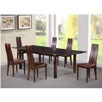 Croft Wooden Dining Set In Dark Walnut With 6 Solid Beech Ch
