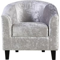 Product photograph showing Crushed Velvet Tub Chair In Silver