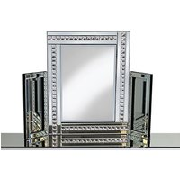 Elena Dressing Table Mirror In Silver With Crystal Detail