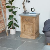 Cupello Lamp Table In Solid Acacia Hardwood And Zinc