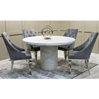 Cupric Round Gloss Marble Dining Table 4 Artemis Grey Chairs