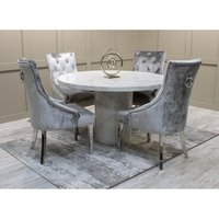 Product photograph showing Cupric Round Gloss Marble Dining Table 4 Enmore Pewter Chairs