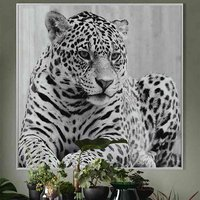 Product photograph showing Cursa Cheetah Black And White Picture Glass Wall Art