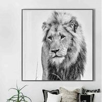 Product photograph showing Cursa Golden Lion Black And White Picture Glass Wall Art