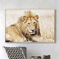 Product photograph showing Cursa Golden Lion Picture Glass Wall Art