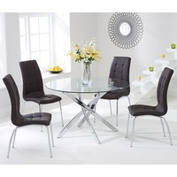 Cursa Round Glass Dining Table with 4 Gala Brown Dining Chairs