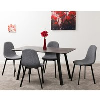 Product photograph showing Cursan Wooden Dining Set In Black With 4 Dark Grey Fabric Chairs