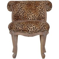Product photograph showing Cuzco Fabric Accent Chair In Leopard Printed And Sunbleach