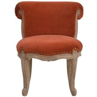 Product photograph showing Cuzco Velvet Accent Chair In Brick Red And Sunbleach