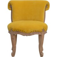 Product photograph showing Cuzco Velvet Accent Chair In Mustard And Sunbleach