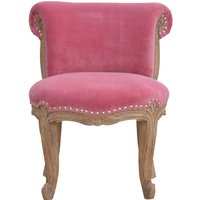 Product photograph showing Cuzco Velvet Accent Chair In Pink And Sunbleach