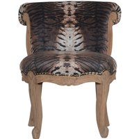 Product photograph showing Cuzco Velvet Accent Chair In Tiger Printed And Sunbleach