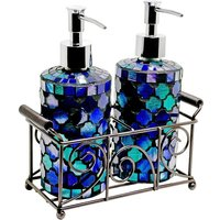 image-Orion Mosiac Glass Soap Dispensers In Aqua Blue With Basket