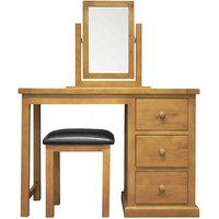 Cyprian Wooden 3Pc Dressing Table Set In Chunky Pine