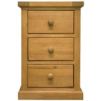 Cyprian Wooden Bedside Cabinet In Chunky Pine With 3 Drawers