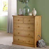 Cyprian Wooden Chest Of Drawers In Chunky Pine With 5 Drawers