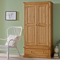 Cyprian Wooden Double Door Wardrobe In Chunky Pine With 1 Drawer