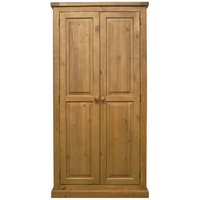 Cyprian Wooden Double Door Wardrobe In Chunky Pine
