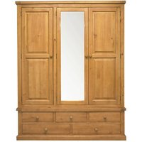 Cyprian Wooden Triple Door Wardrobe In Chunky Pine With Mirror