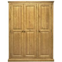 Cyprian Wooden Triple Door Wardrobe In Chunky Pine