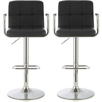 Product photograph showing Cyril Contemporary Bar Stool In Black Faux Leather In A Pair