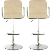 Product photograph showing Cyril Contemporary Bar Stool In Cream Faux Leather In A Pair