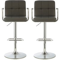 Product photograph showing Cyril Contemporary Bar Stool In Grey Faux Leather In A Pair