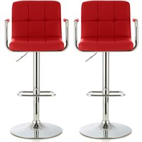 Product photograph showing Cyril Contemporary Bar Stool In Red Faux Leather In A Pair