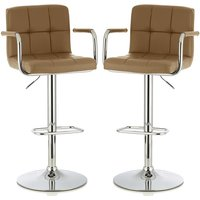 Product photograph showing Cyril Contemporary Bar Stool In Taupe Faux Leather In A Pair