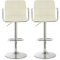 Product photograph showing Cyril Contemporary Bar Stool In White Faux Leather In A Pair