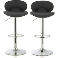 Product photograph showing Cyrus Modern Bar Stool In Black Faux Leather In A Pair