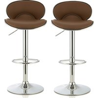 Product photograph showing Cyrus Modern Bar Stool In Cappuccino Faux Leather In A Pair