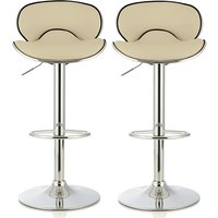 Product photograph showing Cyrus Modern Bar Stool In Cream Faux Leather In A Pair