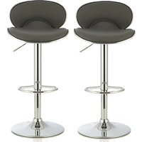 Product photograph showing Cyrus Modern Bar Stool In Grey Faux Leather In A Pair