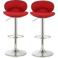 Product photograph showing Cyrus Modern Bar Stool In Red Faux Leather In A Pair