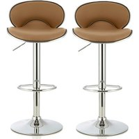 Product photograph showing Cyrus Modern Bar Stool In Taupe Faux Leather In A Pair
