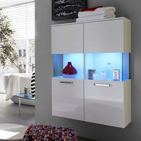 image-Dale Wall Mount Bathroom Storage Cabinet White High Gloss LED