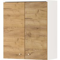 Product photograph showing Dallas Wall Bathroom Storage Cabinet In White And Navarra Oak