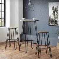 Dalston Wooden Round Bar Table In Mocha Elm